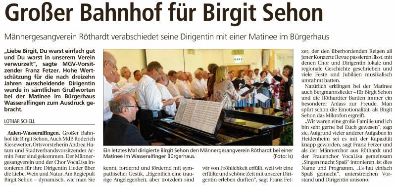 MGV Röthardt Presse Beispiel